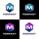 Sköld av bokstav M Logo Design stock illustrationer