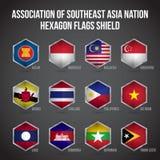 Sköld för ASEAN-sexhörningsflaggor vektor illustrationer