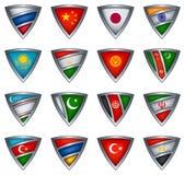 sköld för asia samlingsflagga Royaltyfria Bilder