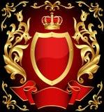 sköld för kronaguldtryckspruta Royaltyfri Fotografi