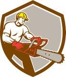 Sköld för skogsarbetareTree Surgeon Arborist Chainsaw Fotografering för Bildbyråer