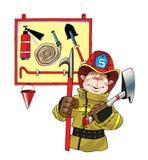 Sköld för slang för brand för brandhjälmyxa Royaltyfri Fotografi