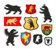 Sköld med björnvektorlogo Vapensköld fastställda symboler för heraldik stock illustrationer