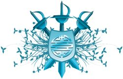 Sköld med det isolerade symbolet av dubbel lycka Royaltyfri Bild