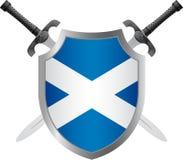 Sköld med flaggan av Skottland Royaltyfri Foto