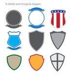 Sköld och Inisignia former royaltyfri illustrationer