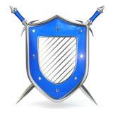Sköld och svärd. Säkerhetsbegrepp. 3d stock illustrationer