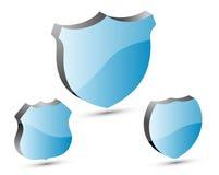 sköldar för blue 3d Arkivbilder