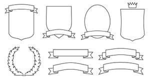 sköldar för jpg för vapenemblemseps inställda scrolls stock illustrationer