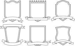 Sköldar och band (vektorn) Arkivbild