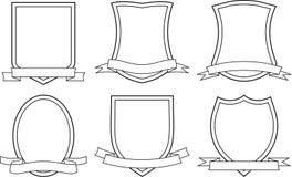 Sköldar och band (vektorn) Royaltyfria Bilder