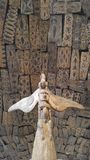 Sköldar och staty för Stillahavs- öbor Royaltyfri Bild