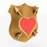 Sköldemblemet stiliseras till hjärtan illustration 3d royaltyfri illustrationer