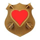 Sköldemblemet stiliseras till hjärtan illustration 3d stock illustrationer