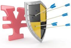 Skölden skyddar den säkra japanska yen Royaltyfri Fotografi