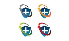 Sköldhälsologo vektor illustrationer