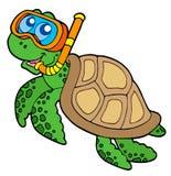 sköldpadda för dykarehavssnorkel Arkivfoton