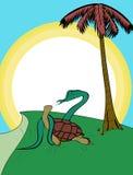 Sköldpadda flätad ihop orm Vektor Illustrationer