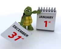 Sköldpadda med en kalender Royaltyfria Bilder