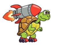 Sköldpadda med raket 2 stock illustrationer