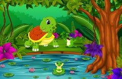 Sköldpadda och groda i djungeln med sjöplats vektor illustrationer