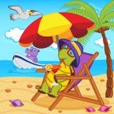 Sköldpadda som dricker en coctail i en vardagsrumstol på stranden Arkivfoto