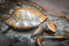 Sköldpadda som göras av brons, detalj av en monument Royaltyfri Bild
