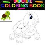 Sköldpaddafärgläggningbok royaltyfri illustrationer