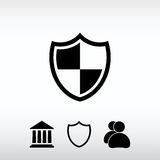 Sköldsymbol, vektorillustration Sänka designstil Fotografering för Bildbyråer