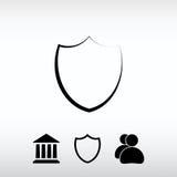 Sköldsymbol, vektorillustration Sänka designstil Royaltyfria Bilder