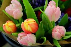 Skönhet av blommor - buketten som göras av färgglade tulpan - dekorativa blommor för favorit- vår Arkivfoto