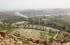 Skönhet av den Hampi och Tungabhadra floden, Hampi, Indien Royaltyfri Foto