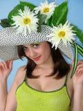 skönhet blommar flickan Arkivfoto