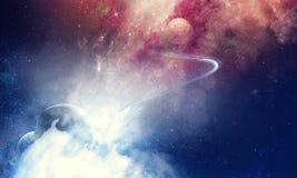 Skönhet för djupt utrymme med planeter och stjärnor arkivbild