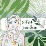, skönhet-, hygien- och sommarbegrepp - härlig kvinna i brunnsortstång över grön palmbladbakgrund vektor illustrationer