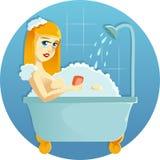 Skönhet i duschen vektor illustrationer