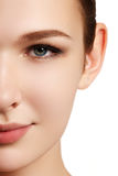 skönhet isolerad ståendewhite Härlig brunnsortkvinna Ren skönhetmodell Rent B Fotografering för Bildbyråer