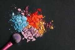 Skönhet makeupskönhetsmedel, ögonskuggafärgstänkpalett royaltyfri foto