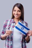 Skönhet med den israeliska flaggan Arkivfoton