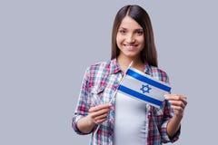 Skönhet med den israeliska flaggan Royaltyfri Bild
