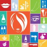 Skönhet- och makeupsymboler, vektoruppsättning Fotografering för Bildbyråer