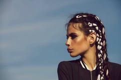 Skönhet och mode, makeup och hår, framtid, indie och boho royaltyfri bild