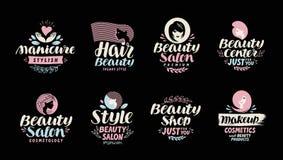 Skönhet shoppar, salongen, skönhetsmedlet eller makeuplogoen Handskrivet i en härlig calligraphic text stock illustrationer