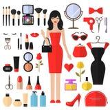 Skönhet, skönhetsmedlet och makeupvektorn sänker symboler Arkivfoto