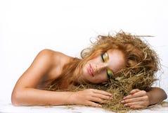 Skönhet som sover flickan Royaltyfri Fotografi