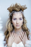 Skönhetbarnet snöar drottningen i felika exponeringar med hår Royaltyfri Foto