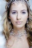 Skönhetbarnet snöar drottningen i felika exponeringar med hår Royaltyfria Foton