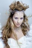 Skönhetbarnet snöar drottningen i felika exponeringar med hår Arkivbild