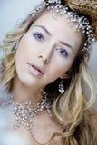 Skönhetbarnet snöar drottningen i felika exponeringar med hår Royaltyfri Bild