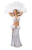 Skönhetblondin i den vita magdansösdräkten Royaltyfria Bilder